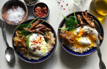 Savory Oatmeal with Shiitake Mushrooms, Spinach and Poached Eggs Egg Recipes