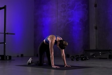 Woman demonstrating how to do Cat-Cow pose as part of a mobility workout