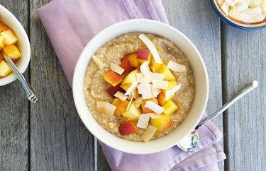quinoa breakfasts Peaches and Creamy Coconut Quinoa Oatmeal Bowl