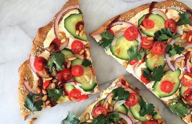 Party-time Hummus Pizza Healthy Pizza Recipes