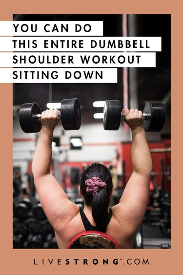 Seated dumbbell shoulder workout graphic