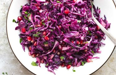 apple cider vinegar recipes Roasted Red Cabbage Salad with Pomegranate