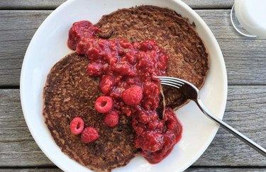 cast iron skillet recipes Vegan Cocoa Pancakes with Raspberry Smash