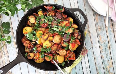 cast iron skillet recipes Spicy Potato, Red Pepper and Chicken Sausage Skillet for Two