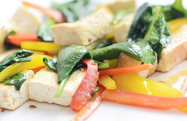Tricolor tofu stir-fry plant based high protein meals