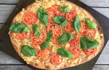 Vegan Margherita thin-crust pizza plant based high protein meals