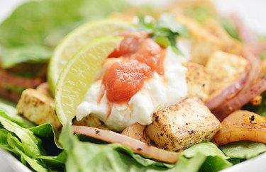 Vegan tofu taco salad plant based high protein meals