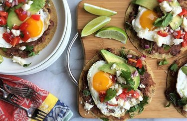 Breakfast Tacos with Eggs, Avocado and Cotija breakfast taco recipe.