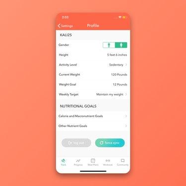 MyPlate calorie counter profile page