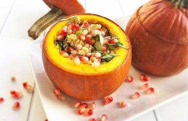 Stuffed Pumpkin with Herbed Quinoa and Pomegranate Arils Vegan Thanksgiving Recipe