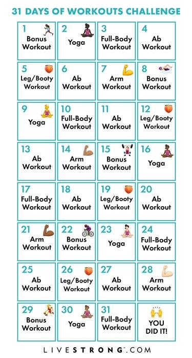 LIVESTRONG.com December Fitness Challenge Calendar