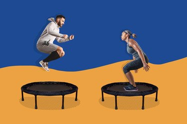 man and woman doing rebounder workouts on mini-trampolines