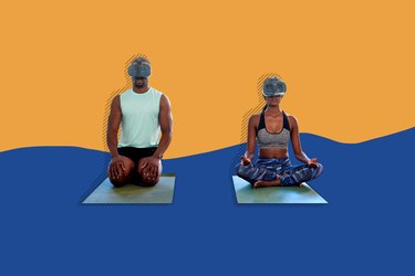 man and woman wearing VR headsets and doing yoga
