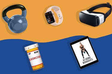 illustration of 2020 fitness trends, including kettlebells, VR headset, and high-tech at-home workouts