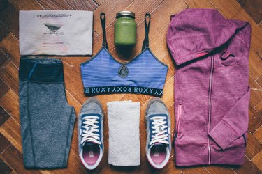 flat lay image of gym clothes