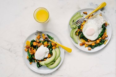 avocado, eggs and sweet potato breakfast