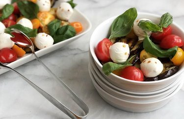 Caprese salad recipe with eggplant for keto diet