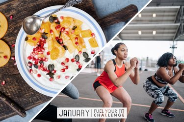 split image of energy-boosting food bowl and women doing a HIIT workout