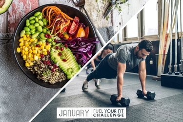 split image of nutritious meal and man doing a strength-training HIIT workout
