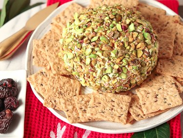 """Goat cheese, neufchatel, and firm tofu are the main ingredients of this cheese """"boule"""""""