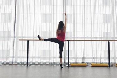 woman dancing barre