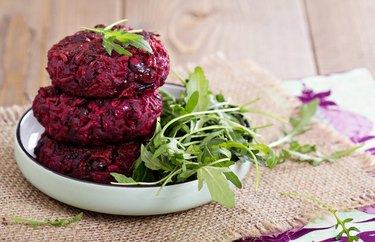 Bunless Red Beet Burgers with Arugula and Goat Cheese