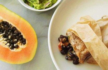 Tropical Black Bean, Cheese, and Papaya Burrito plant-based Mexican recipes