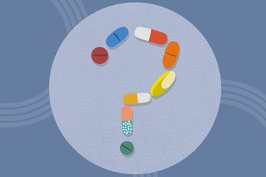 concept illustration of question mark made of supplements