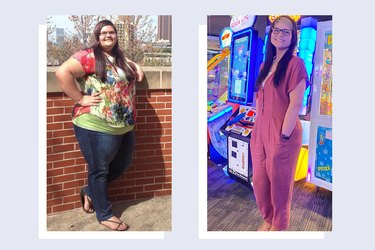 Shelby Villatoro before and after weight loss from gastric bypass surgery