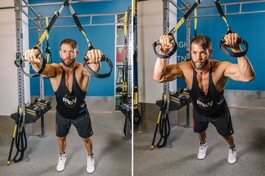 Man demonstrating how to do TRX Overheard Triceps Extensions