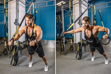 Man demonstrating how to do the TRX Chest Press