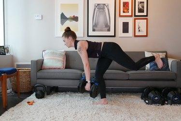 Woman demonstrating how to do a single-leg deadlift