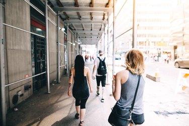 tourists walking