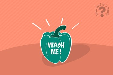 "An illustration of a green pepper with the words ""wash me"" written on the side, to represent unwashed fruits and vegetables"