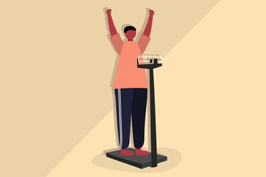 Illustration of a man who has lost weight standing on a scale and raising his arms in celebration