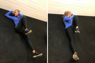 Woman demonstrating how to do a bicycle crunch