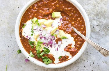 Savory Lentil Chili With Cumin Cream Tomato Sauce Recipe