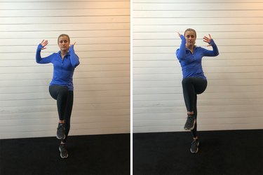 Woman demonstrating how to do a standing bicycle