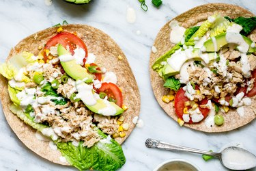 Farmers' Market Spicy Tuna Wraps with Homemade Chipotle Greek Yogurt Ranch Canned Tuna Recipe