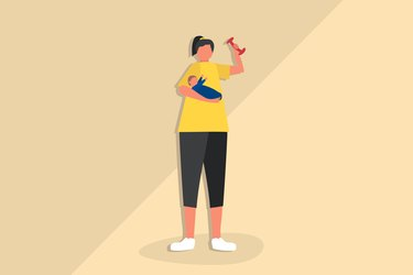 Illustration of postpartum weight-loss featuring a mom holding a baby and a dumbbell