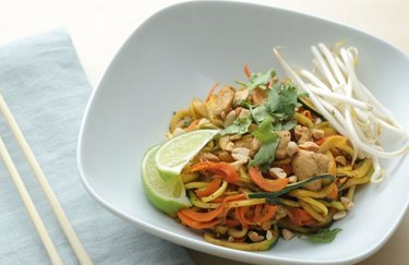 Chicken Pad Thai Zoodles as an example of Weight Watchers dinner recipes