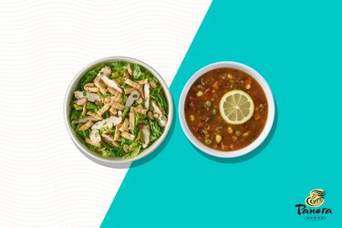 Panera Bread Half Asian Sesame Chicken Salad With 10 Vegetable Soup