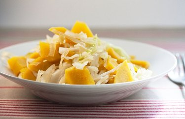 Sweet and Sour Acorn Squash with Cabbage recipe