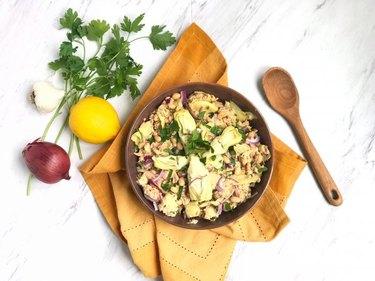 Mediterranean Salmon Salad with Artichokes, White Beans & Lemon Dressing