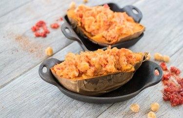 Smoky Harissa Chickpea Twice-Baked Sweet Potato
