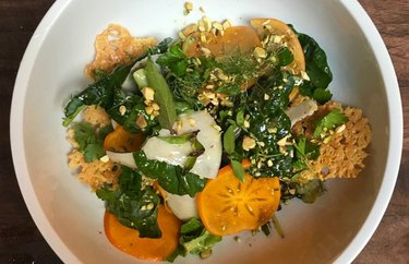 Persimmon, Pistachio, and Turnip Salad with Mustard Greens
