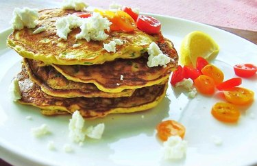 Savory Spinach, Tomato and Goat Cheese Pancakes Protein Pancake Recipe