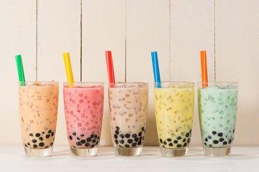 line of boba drinks
