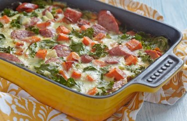 Breakfast-for-Dinner Sweet Potato and Sausage Breakfast Casserole in a yellow pan
