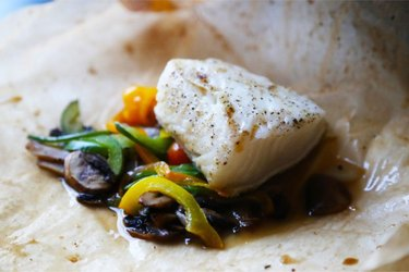 Sea Bass en Papillote with Mushrooms and Steamed Vegetables